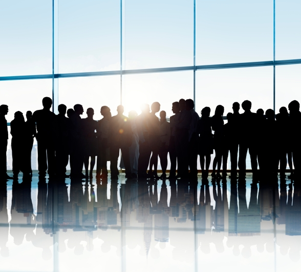 Silhouettes of Business People in an Office Building